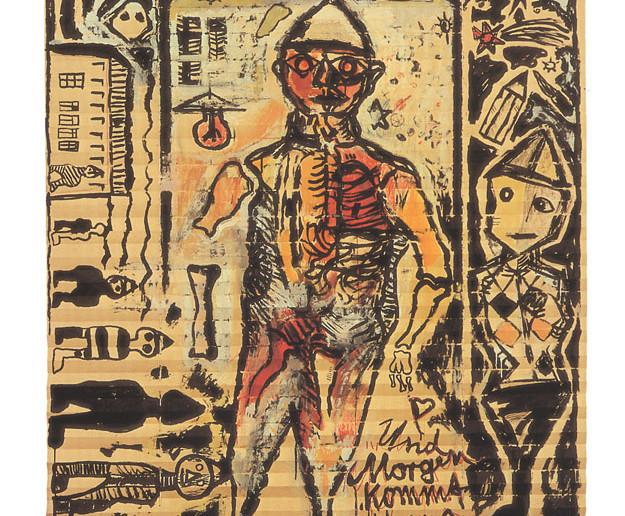 Andreas Küchler: Und morgen kommt Hans Isegrimm, da wird's schlimm, 1985, Mischtechnik auf Papierfaltrollo, BLMK, Foto: Archiv BLMK, © VG Bild-Kunst, Bonn 2019