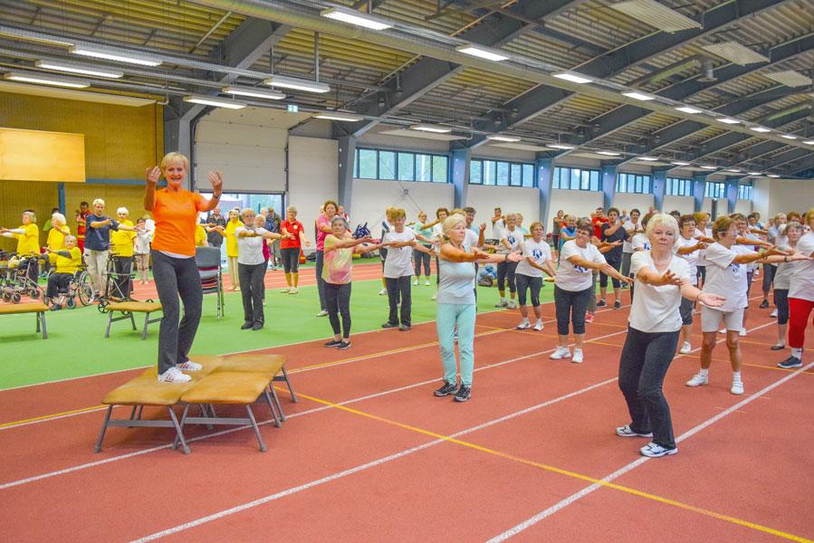 Stadtsportbundmitglied Dr.Carola Wiesner leitet Senioren an.